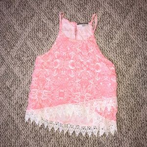 Pink and White Paisley Crop Top